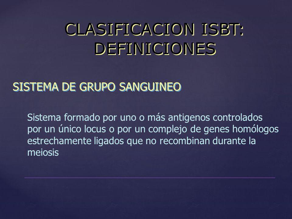 CLASIFICACION ISBT: DEFINICIONES