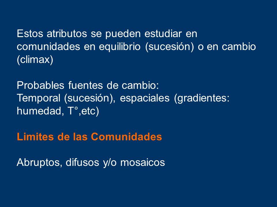 Estos atributos se pueden estudiar en comunidades en equilibrio (sucesión) o en cambio (climax)