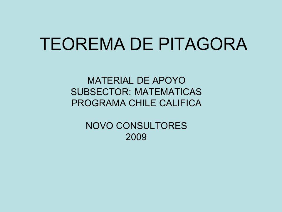 TEOREMA DE PITAGORA MATERIAL DE APOYO SUBSECTOR: MATEMATICAS