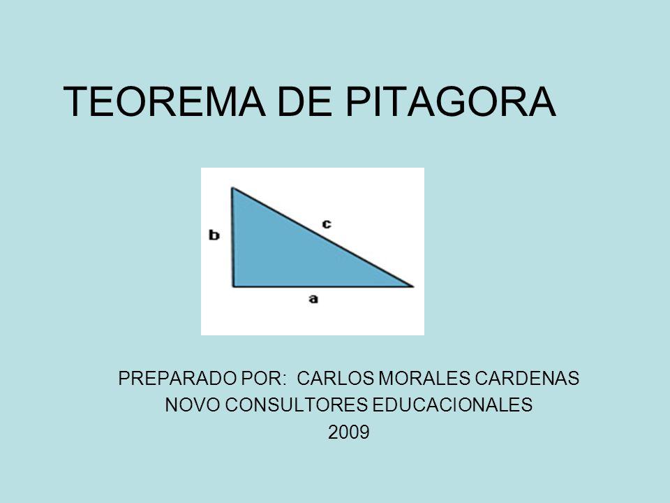 TEOREMA DE PITAGORA PREPARADO POR: CARLOS MORALES CARDENAS
