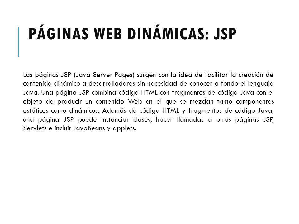 Páginas web dinámicas: JSP