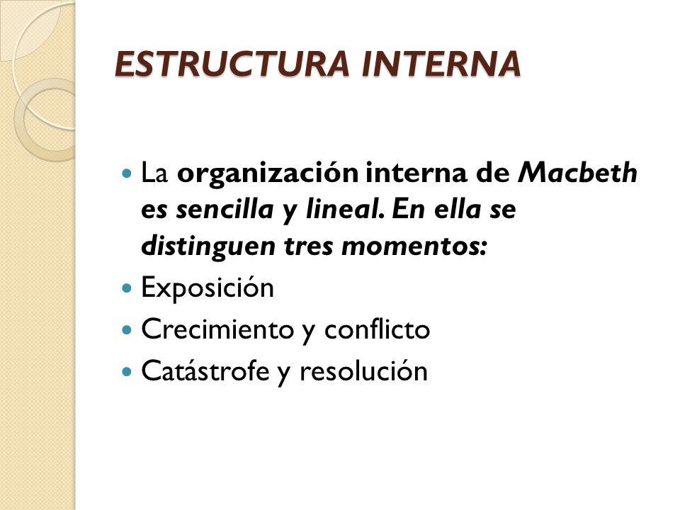 ESTRUCTURA INTERNA La organización interna de Macbeth es sencilla y lineal. En ella se distinguen tres momentos: