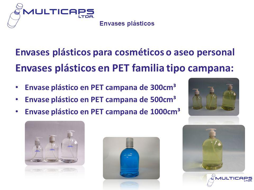 Envases plásticos en PET familia tipo campana: