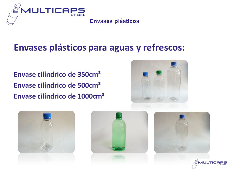 Envases plásticos para aguas y refrescos: