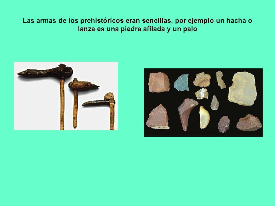 Las armas de los prehistóricos eran sencillas, por ejemplo un hacha o lanza es una piedra afilada y un palo