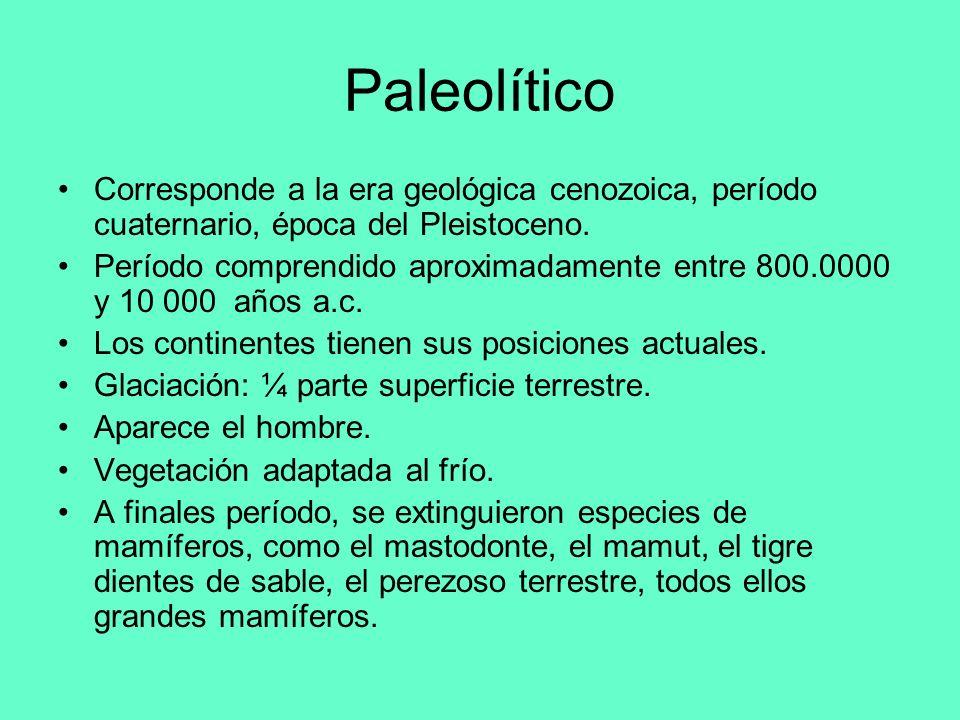 Paleolítico Corresponde a la era geológica cenozoica, período cuaternario, época del Pleistoceno.
