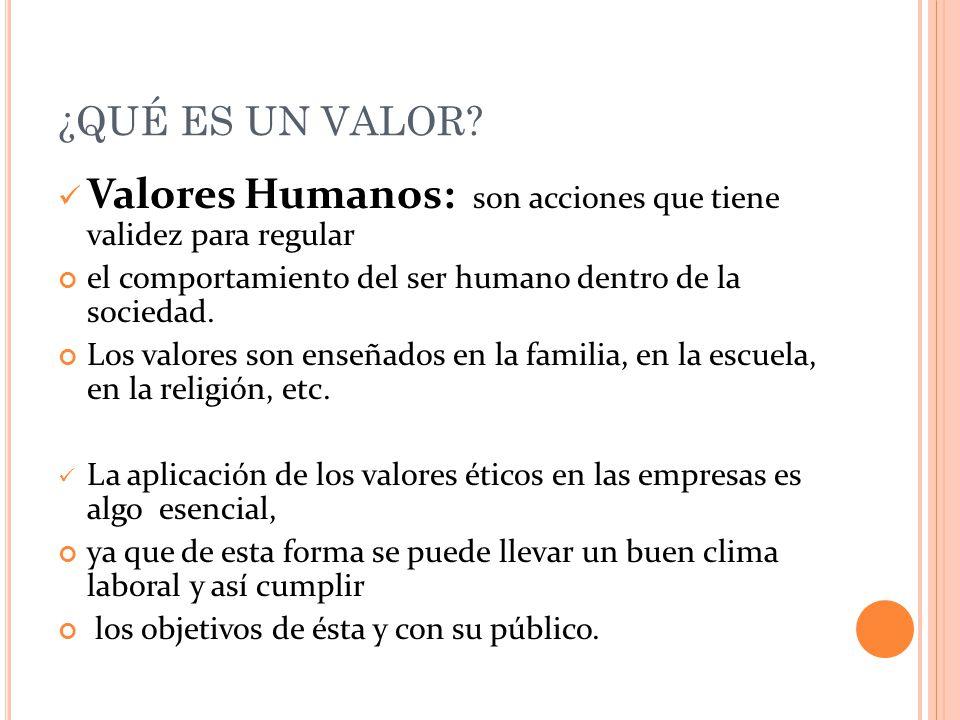 Valores Humanos: son acciones que tiene validez para regular