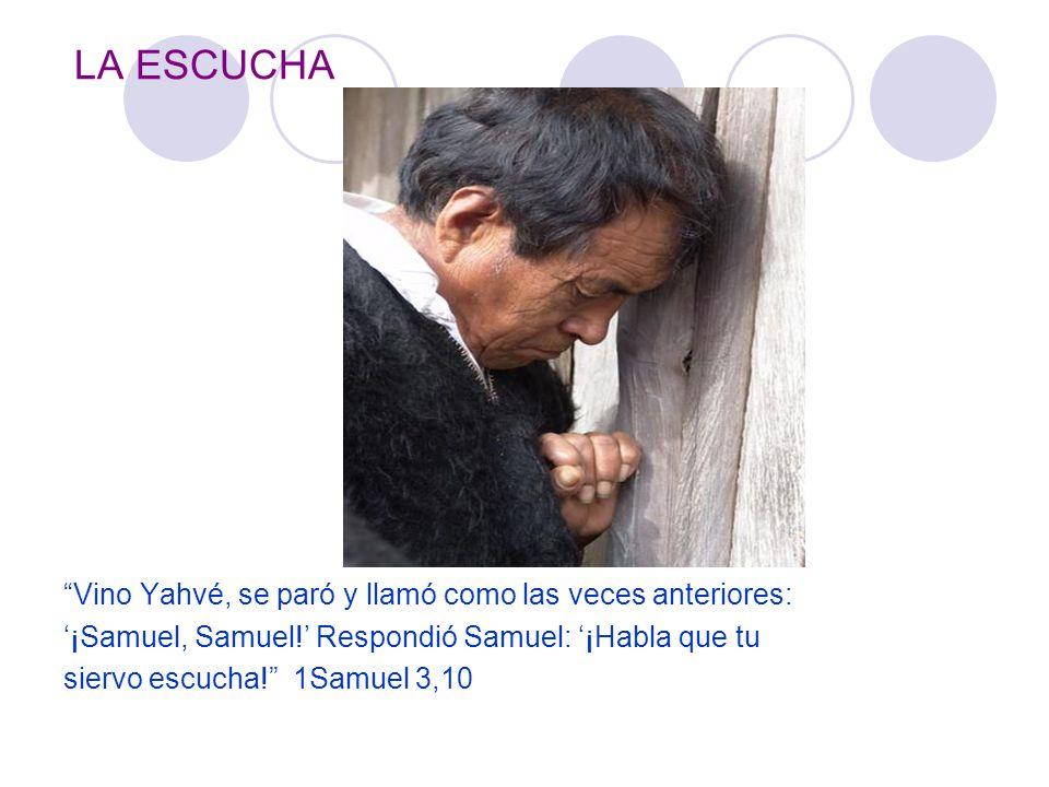 LA ESCUCHA Vino Yahvé, se paró y llamó como las veces anteriores: