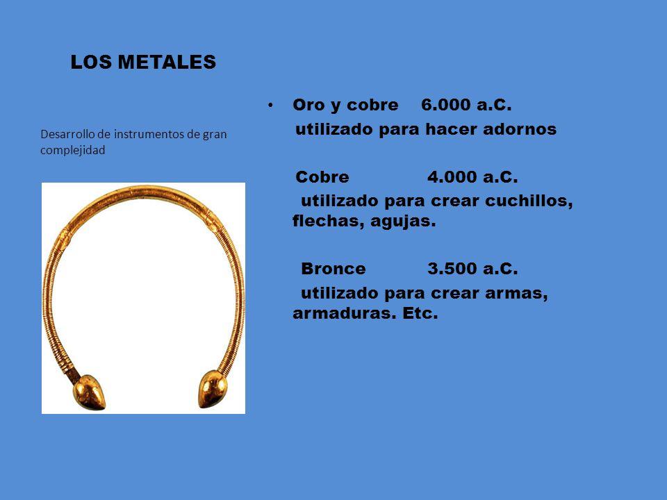 LOS METALES Oro y cobre 6.000 a.C. utilizado para hacer adornos