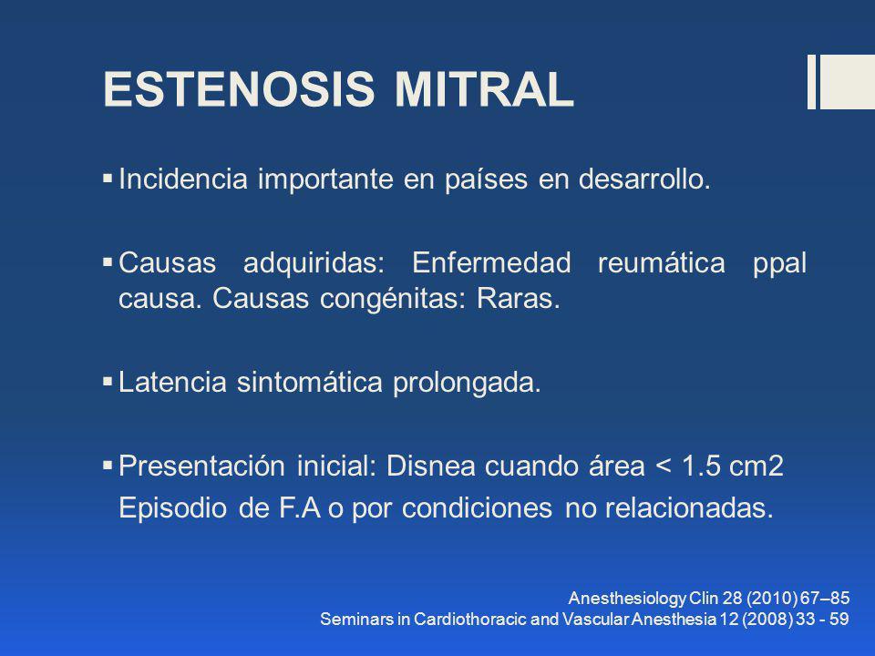 ESTENOSIS MITRAL Incidencia importante en países en desarrollo.