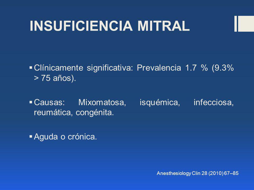 INSUFICIENCIA MITRAL Clínicamente significativa: Prevalencia 1.7 % (9.3% > 75 años).