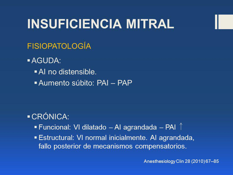 INSUFICIENCIA MITRAL FISIOPATOLOGÍA AGUDA: AI no distensible.