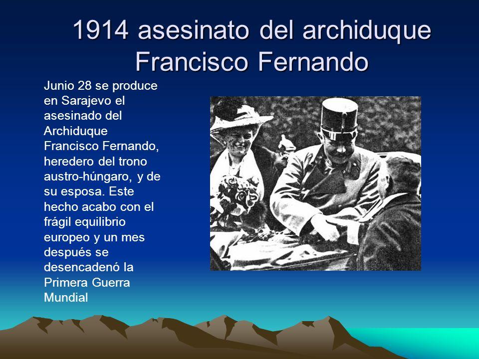 1914 asesinato del archiduque Francisco Fernando
