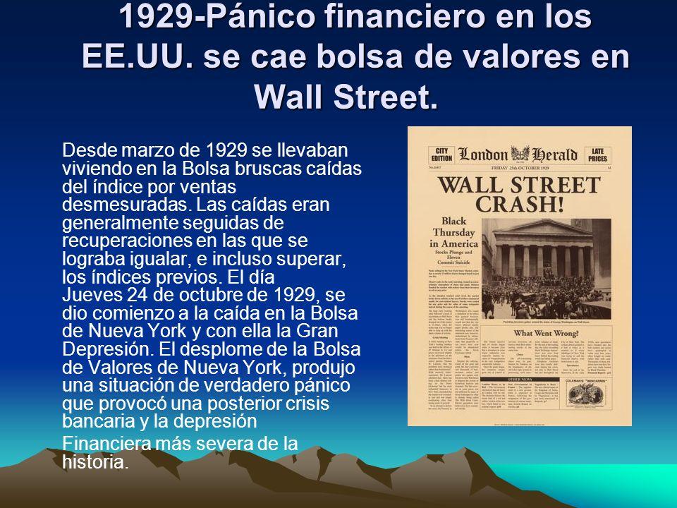 1929-Pánico financiero en los EE. UU