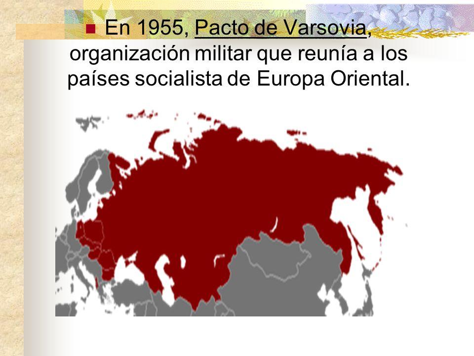 En 1955, Pacto de Varsovia, organización militar que reunía a los países socialista de Europa Oriental.