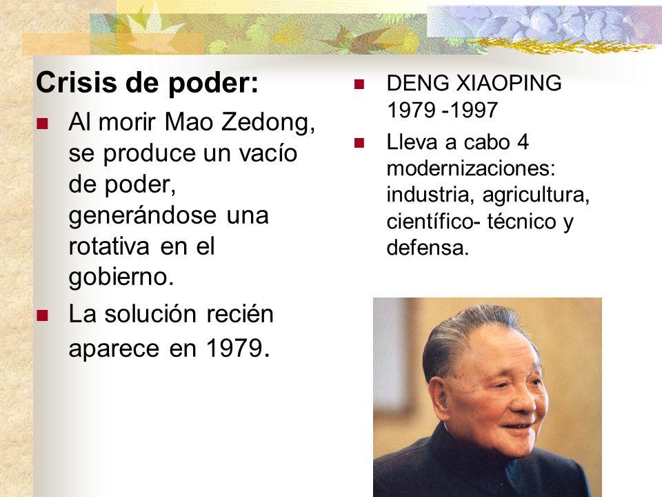 Crisis de poder:Al morir Mao Zedong, se produce un vacío de poder, generándose una rotativa en el gobierno.