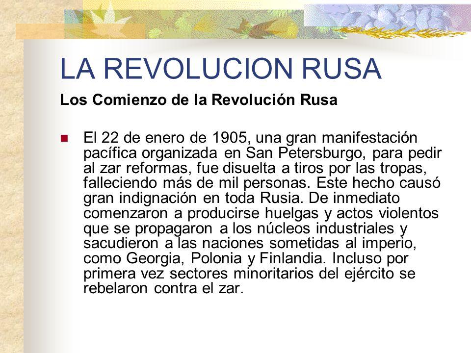 LA REVOLUCION RUSA Los Comienzo de la Revolución Rusa