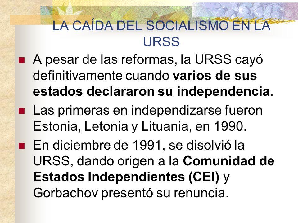 LA CAÍDA DEL SOCIALISMO EN LA URSS