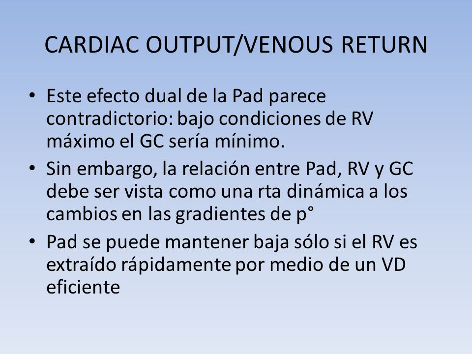 CARDIAC OUTPUT/VENOUS RETURN