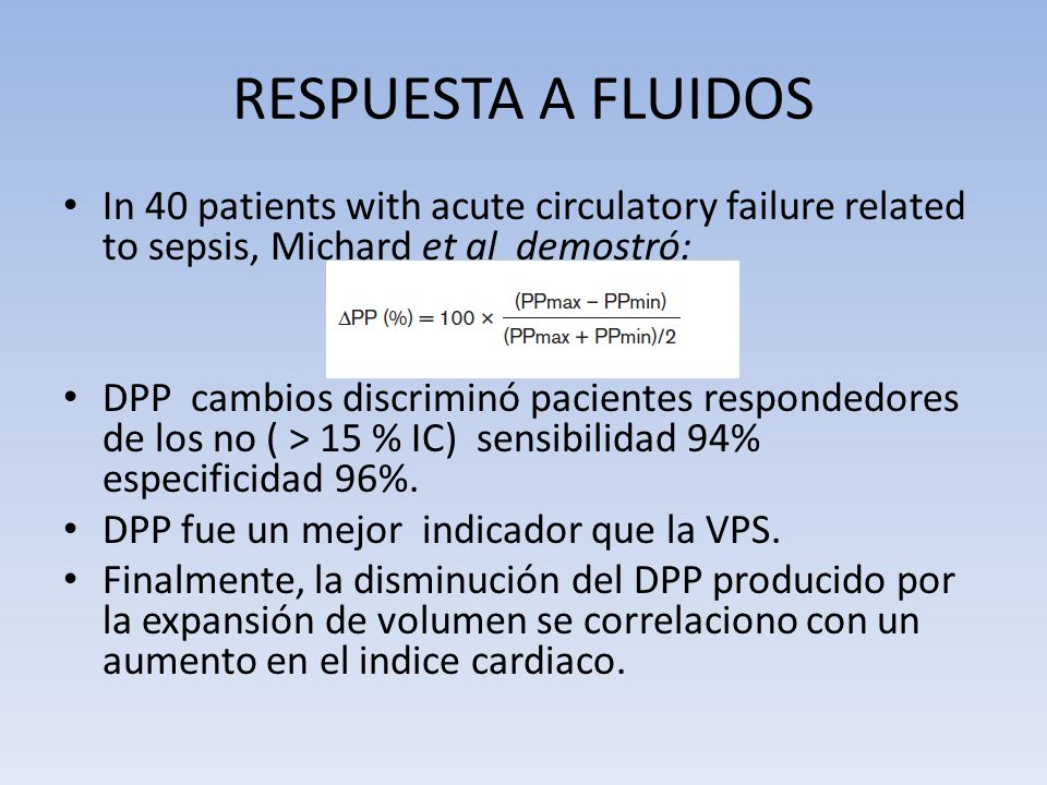 RESPUESTA A FLUIDOS In 40 patients with acute circulatory failure related to sepsis, Michard et al demostró: