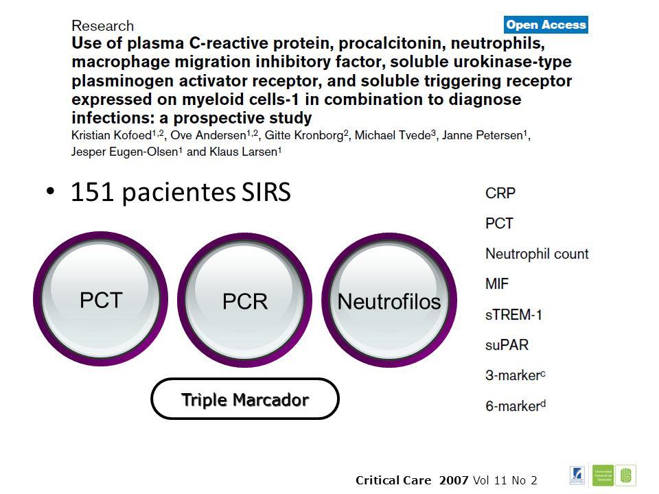 151 pacientes SIRS PCT PCR Neutrofilos Triple Marcador