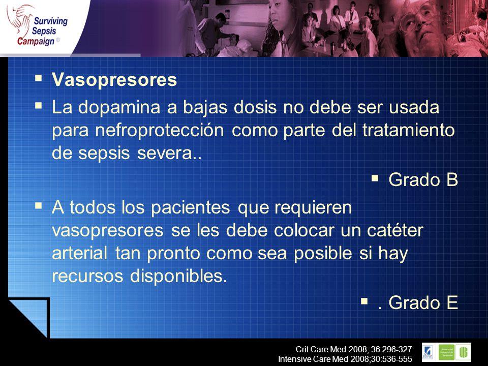 Vasopresores La dopamina a bajas dosis no debe ser usada para nefroprotección como parte del tratamiento de sepsis severa..