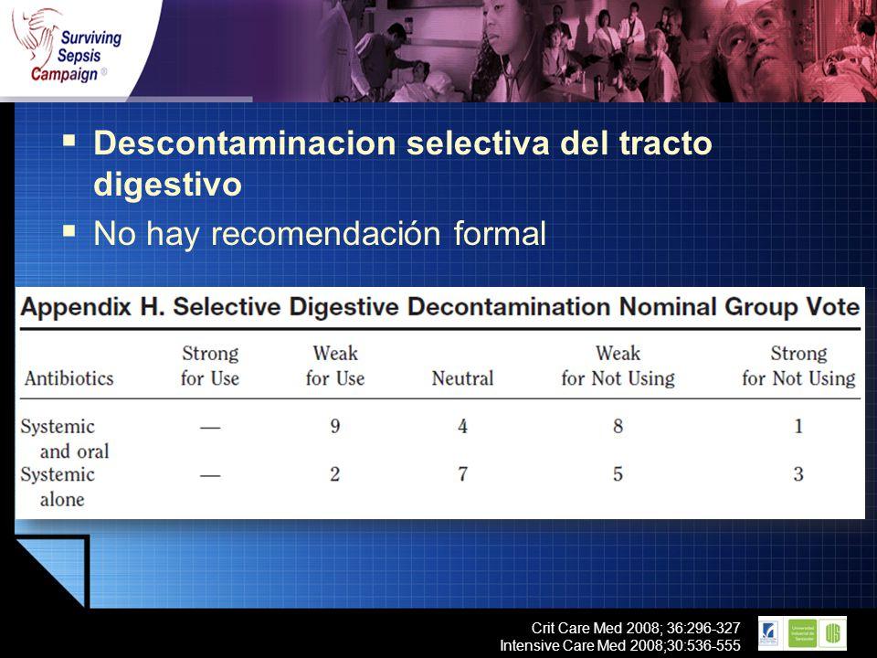 Descontaminacion selectiva del tracto digestivo