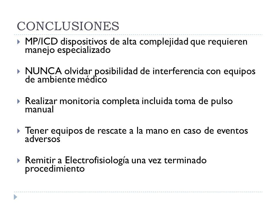 CONCLUSIONES MP/ICD dispositivos de alta complejidad que requieren manejo especializado.
