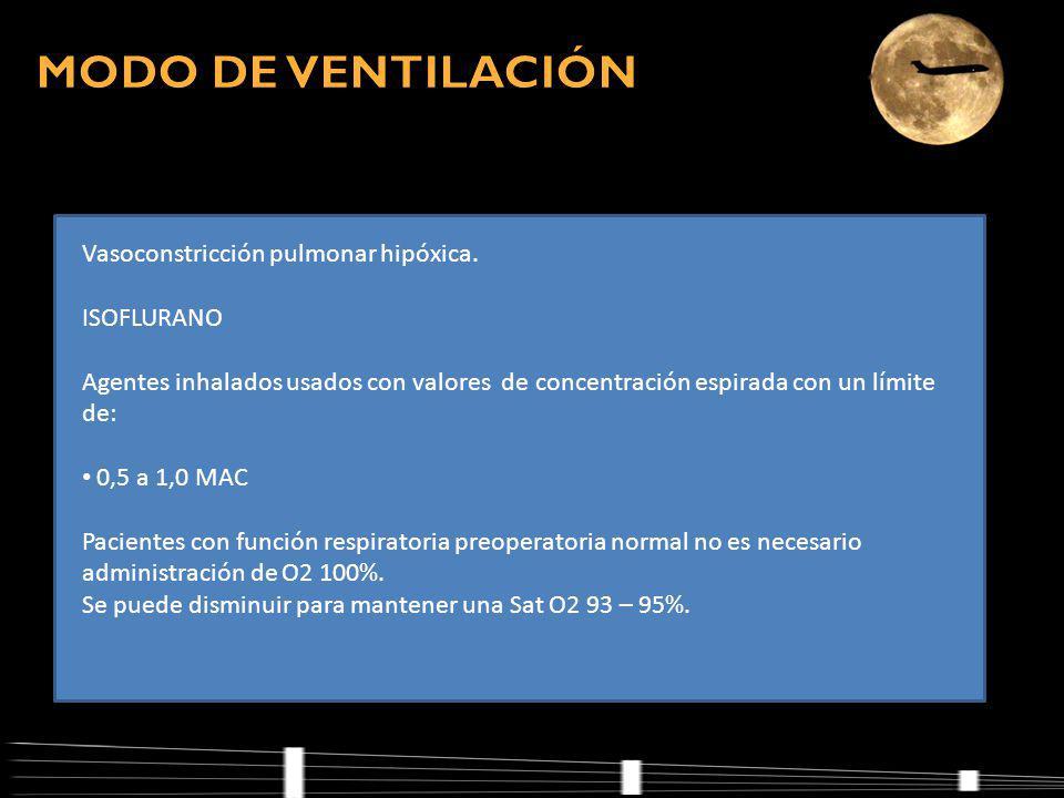 MODO DE VENTILACIÓN Vasoconstricción pulmonar hipóxica. ISOFLURANO