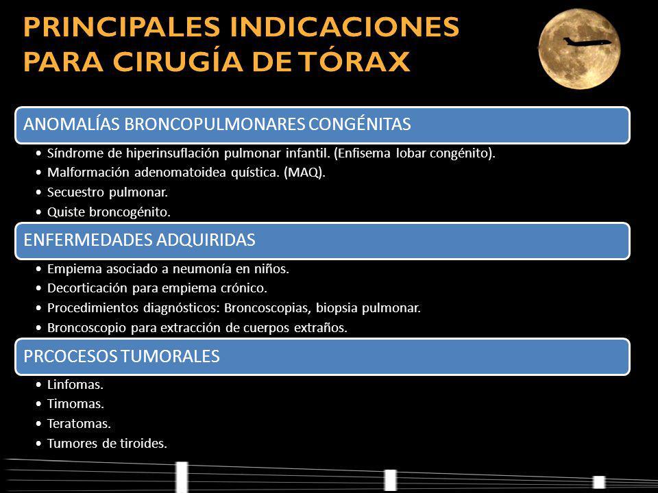 PRINCIPALES INDICACIONES PARA CIRUGÍA DE TÓRAX