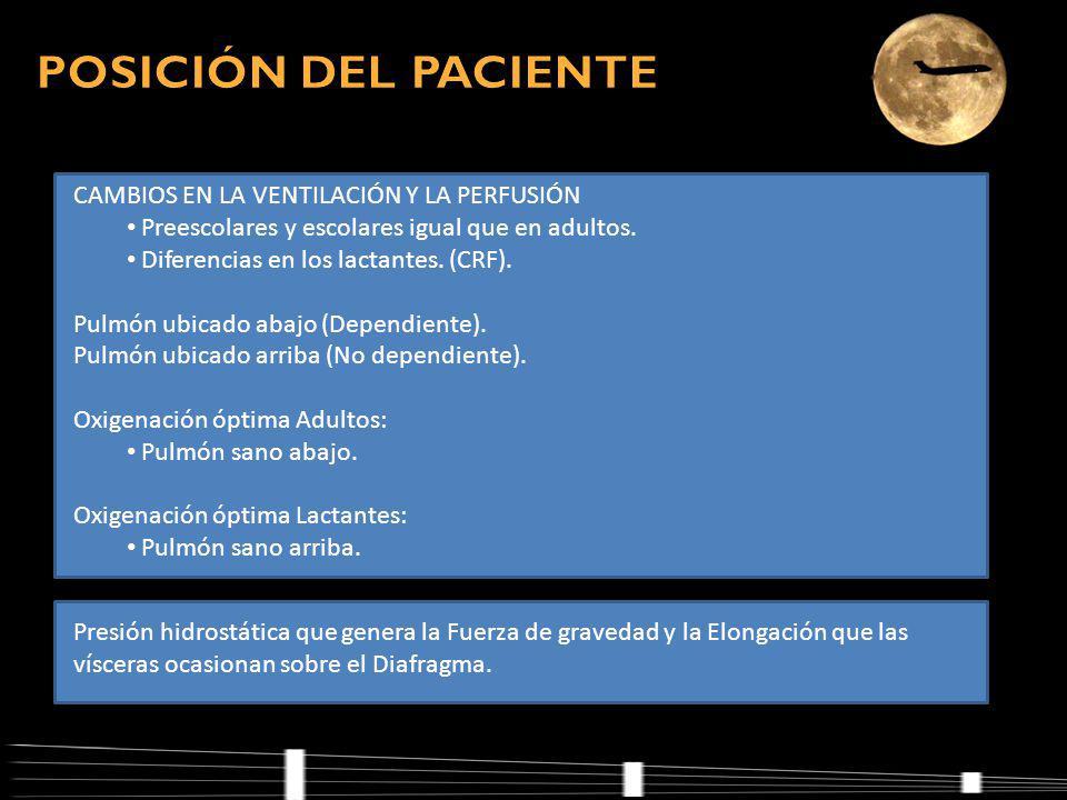 POSICIÓN DEL PACIENTE CAMBIOS EN LA VENTILACIÓN Y LA PERFUSIÓN