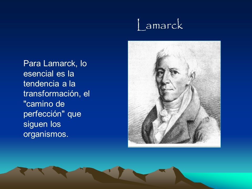 Lamarck Para Lamarck, lo esencial es la tendencia a la transformación, el camino de perfección que siguen los organismos.
