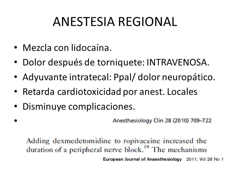 ANESTESIA REGIONAL Mezcla con lidocaína.