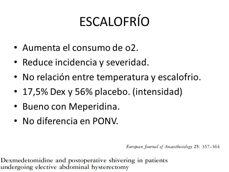 ESCALOFRÍO Aumenta el consumo de o2. Reduce incidencia y severidad.
