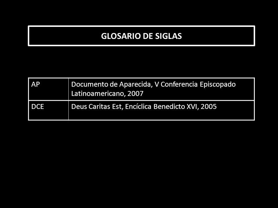 GLOSARIO DE SIGLAS AP. Documento de Aparecida, V Conferencia Episcopado Latinoamericano, 2007. DCE.