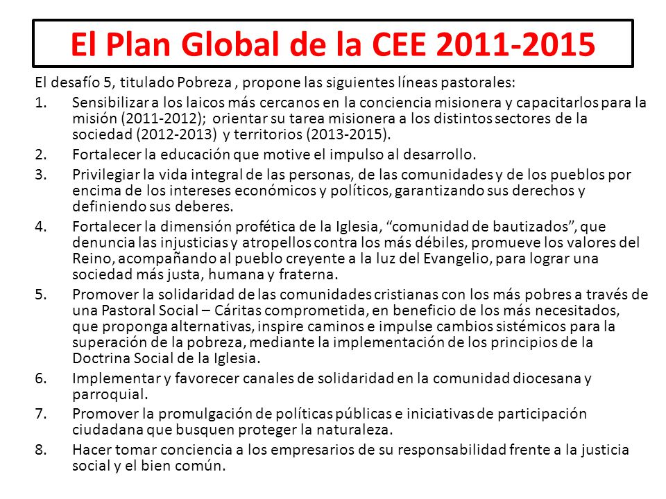 El Plan Global de la CEE 2011-2015