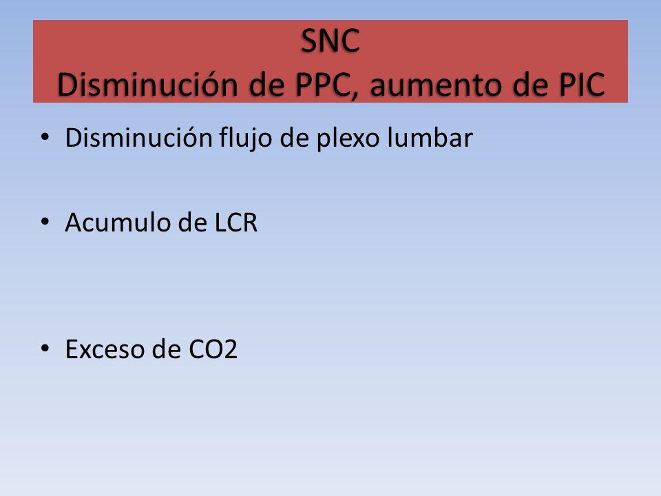SNC Disminución de PPC, aumento de PIC