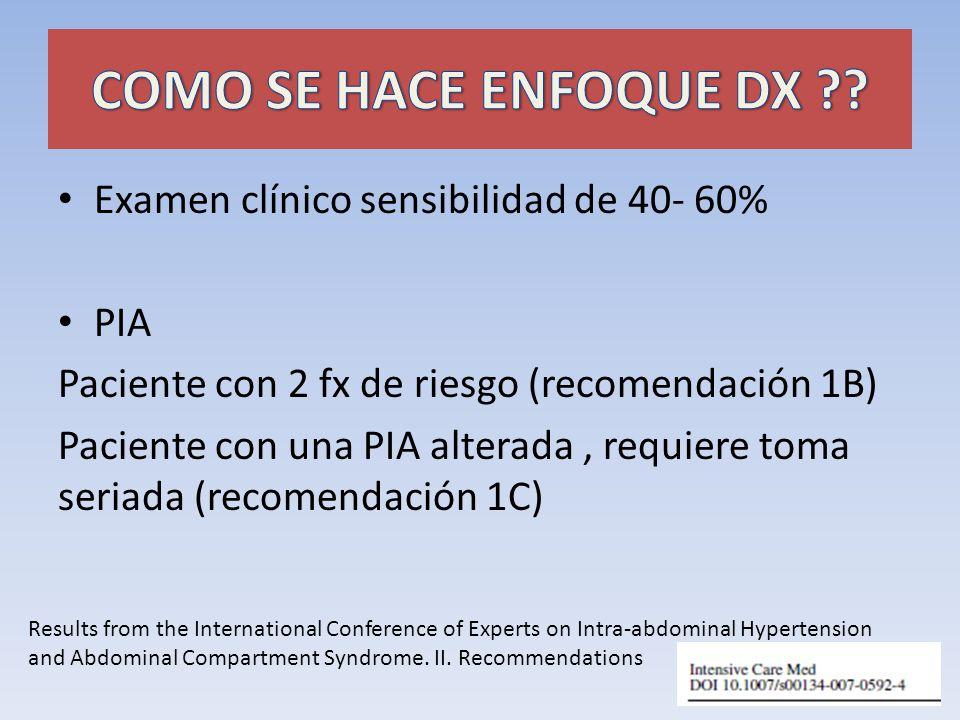 COMO SE HACE ENFOQUE DX Examen clínico sensibilidad de 40- 60% PIA