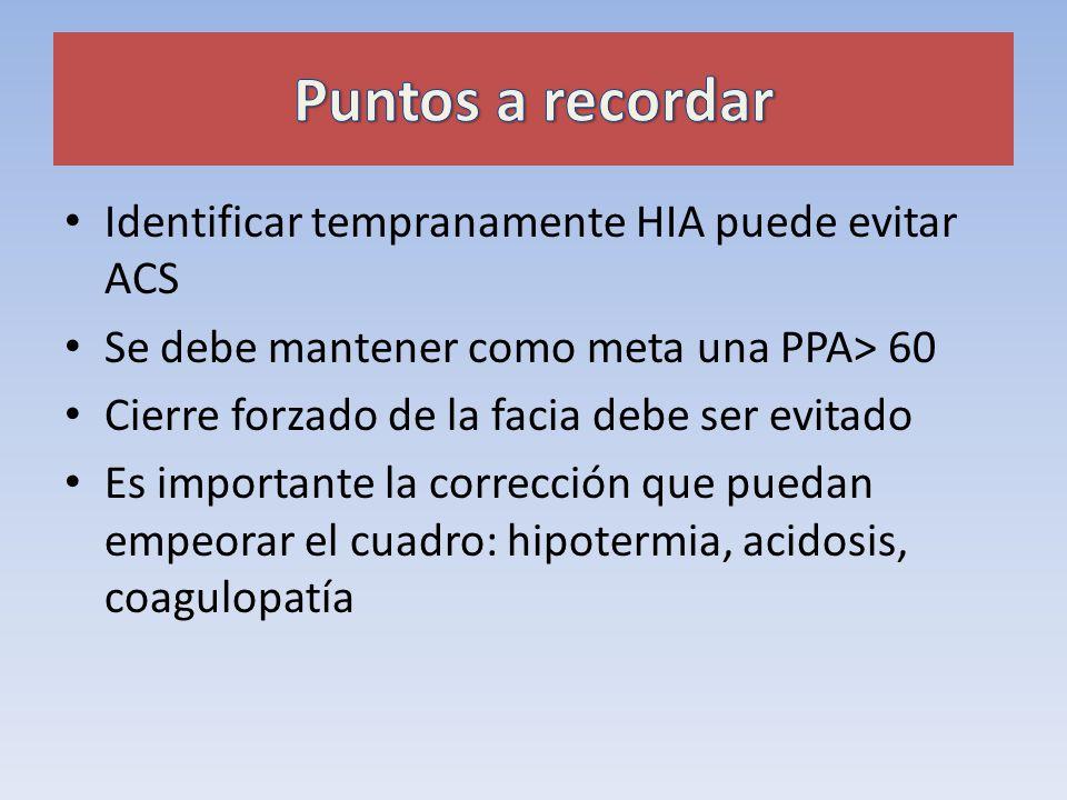 Puntos a recordar Identificar tempranamente HIA puede evitar ACS