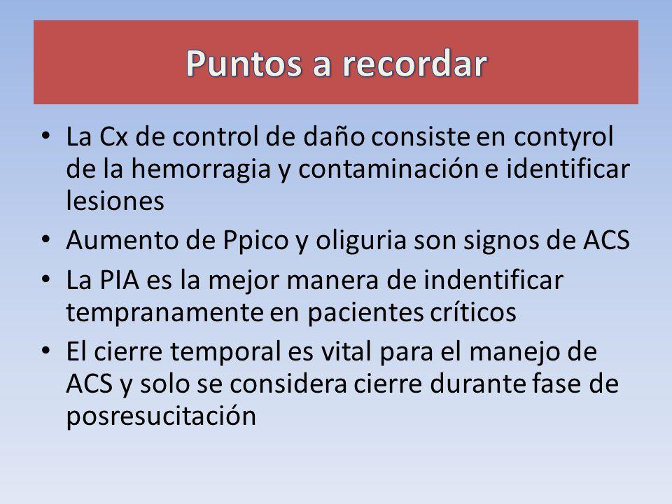 Puntos a recordar La Cx de control de daño consiste en contyrol de la hemorragia y contaminación e identificar lesiones.