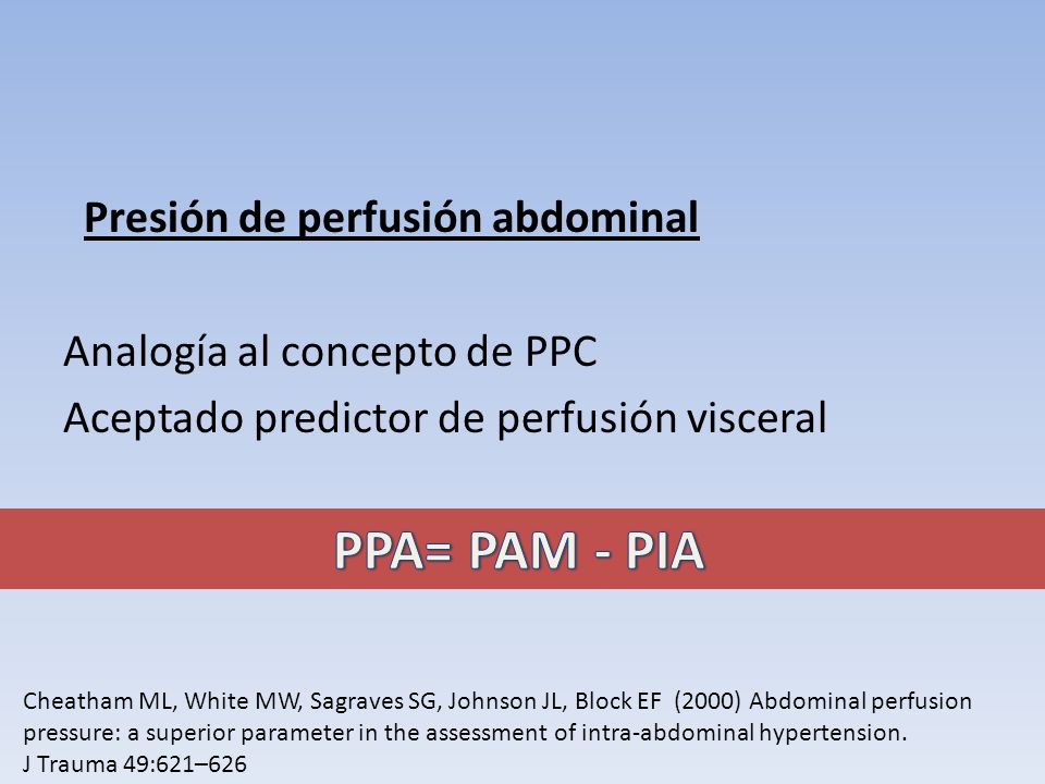 PPA= PAM - PIA Presión de perfusión abdominal
