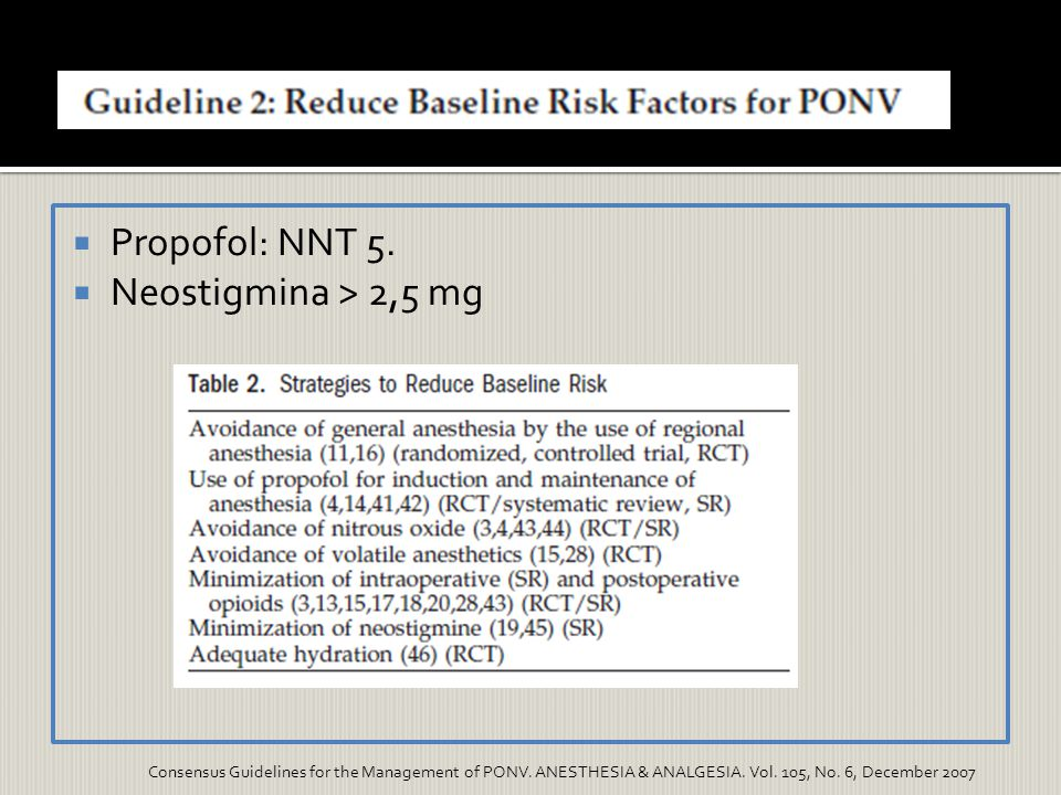 Propofol: NNT 5. Neostigmina > 2,5 mg