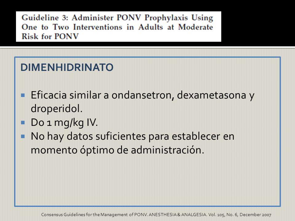 Eficacia similar a ondansetron, dexametasona y droperidol.