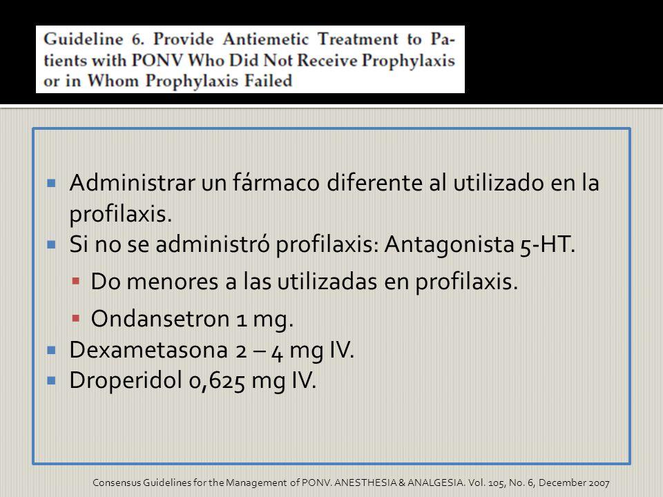 Administrar un fármaco diferente al utilizado en la profilaxis.