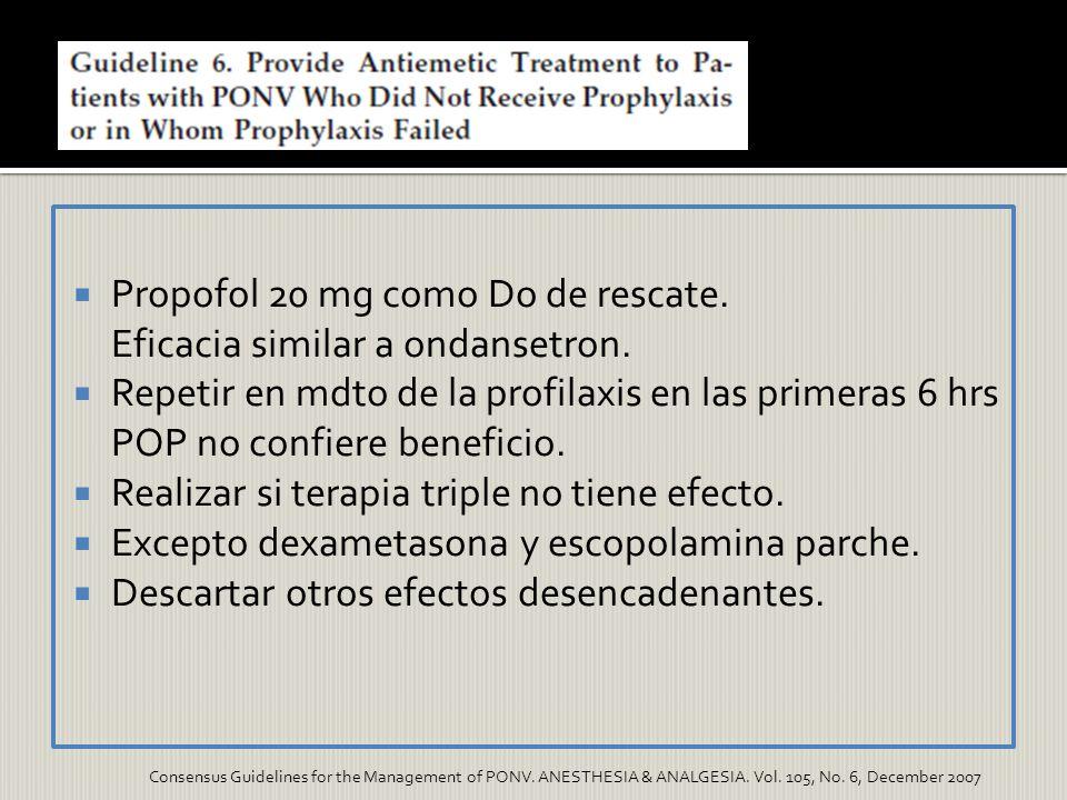 Propofol 20 mg como Do de rescate. Eficacia similar a ondansetron.