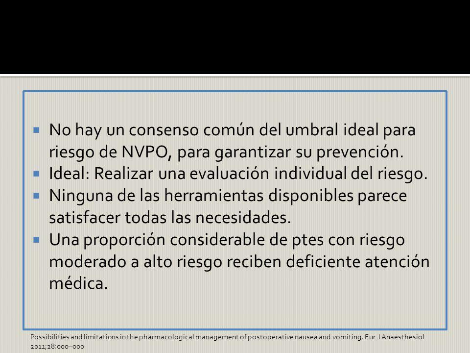 Ideal: Realizar una evaluación individual del riesgo.