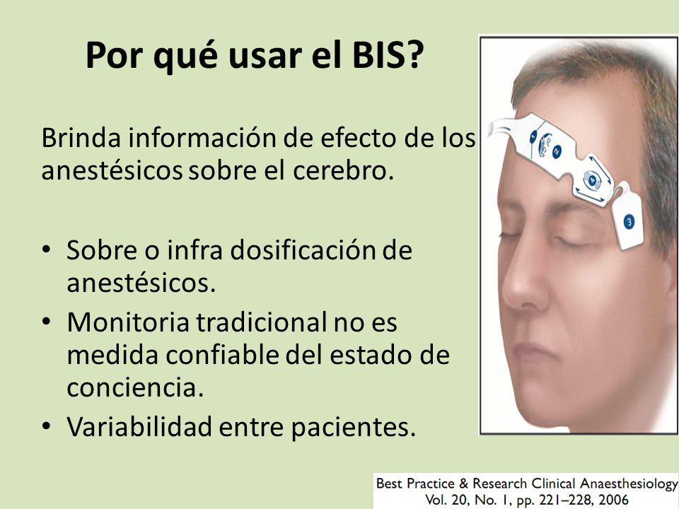Por qué usar el BIS Brinda información de efecto de los anestésicos sobre el cerebro. Sobre o infra dosificación de anestésicos.