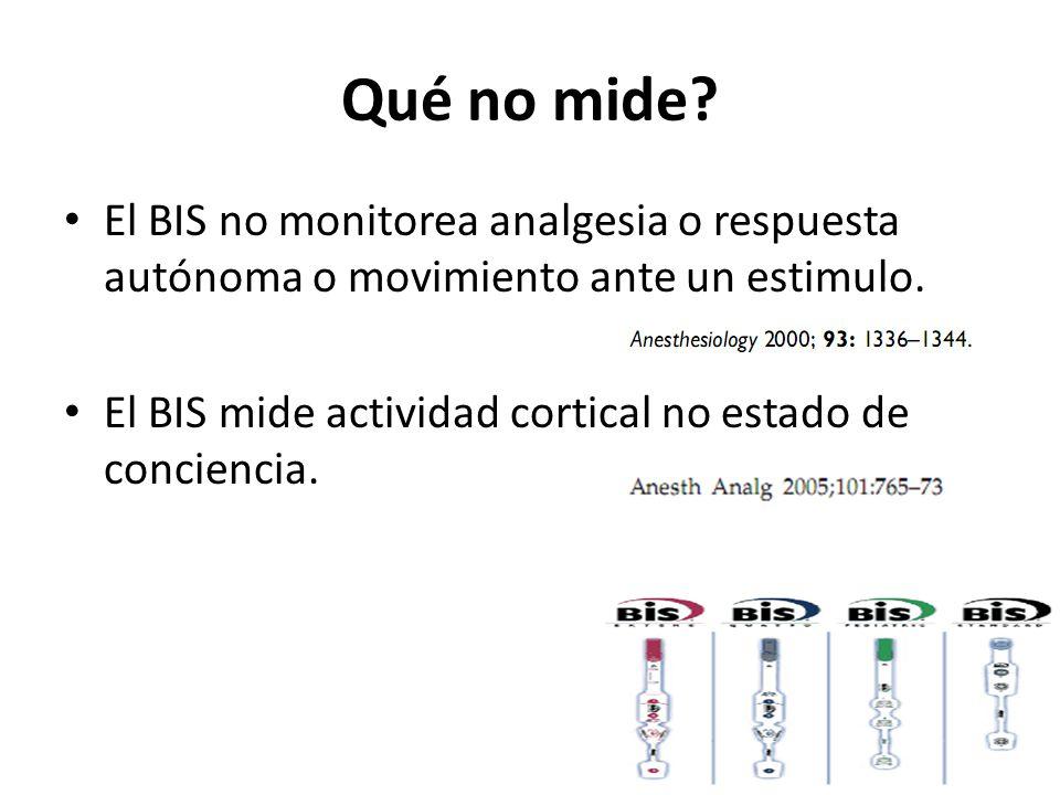 Qué no mide El BIS no monitorea analgesia o respuesta autónoma o movimiento ante un estimulo.