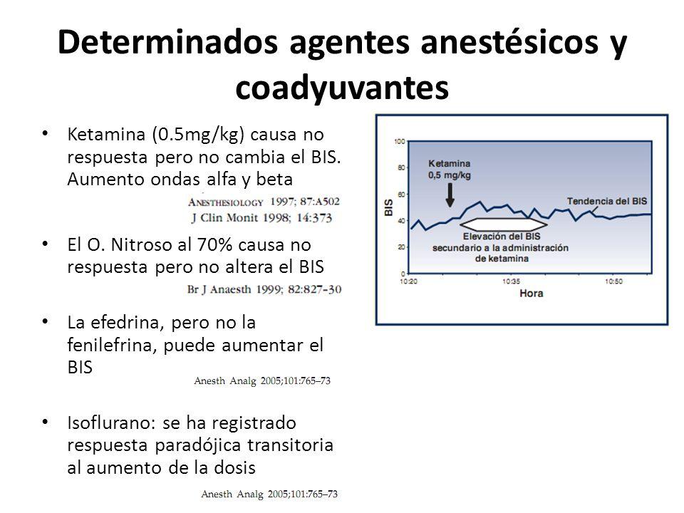 Determinados agentes anestésicos y coadyuvantes