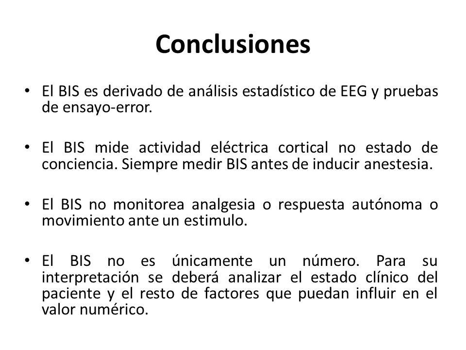 Conclusiones El BIS es derivado de análisis estadístico de EEG y pruebas de ensayo-error.